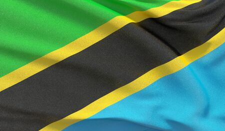 Waving national flag of Tanzania. Waved highly detailed close-up 3D render.