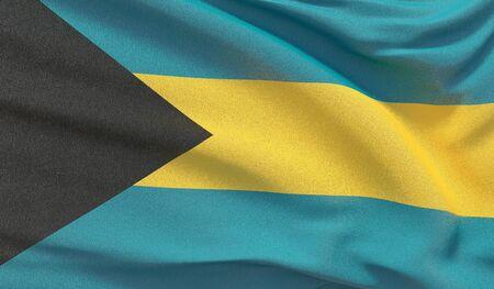 Waving national flag of Bahamas. Waved highly detailed close-up 3D render. Reklamní fotografie