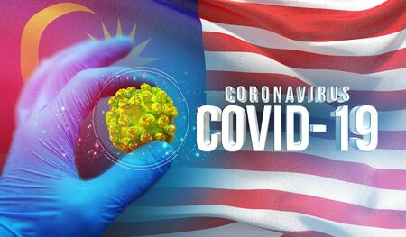 Coronavirus COVID-19 outbreak concept, health threatening virus, background waving national flag of Malaysia. Pandemic stop Novel Coronavirus outbreak covid-19 3D illustration.