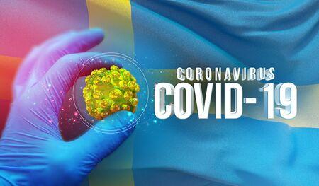 Coronavirus COVID-19 outbreak concept, health threatening virus, background waving national flag of Sweden. Pandemic stop Novel Coronavirus outbreak covid-19 3D illustration. Stockfoto