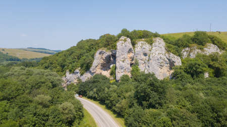 Landmark, attraction - Rock cliff Three elephants. Russia, Krasnodar Territory, Mostovskiy rayon Stok Fotoğraf