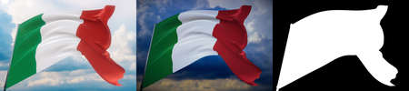 Waving flags of the world - flag of Italy. Set of 2 flags and alpha matte image. Very high quality mask without unwanted edge. High resolution for professional composition. 3D illustration.