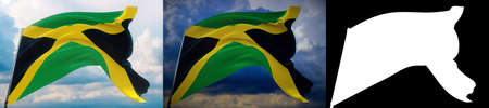 Waving flags of the world - flag of Jamaica. Set of 2 flags and alpha matte image. Very high quality mask without unwanted edge. High resolution for professional composition. 3D illustration. Imagens