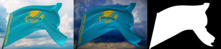 Waving flags of the world - flag of Kazakhstan. Set of 2 flags and alpha matte image. Very high quality mask without unwanted edge. High resolution for professional composition. 3D illustration. Imagens