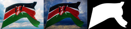 Waving flags of the world - flag of Kenya. Set of 2 flags and alpha matte image. Very high quality mask without unwanted edge. High resolution for professional composition. 3D illustration. Imagens