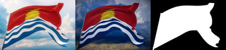 Waving flags of the world - flag of Kiribati. Set of 2 flags and alpha matte image. Very high quality mask without unwanted edge. High resolution for professional composition. 3D illustration.