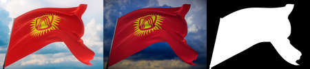 Waving flags of the world - flag of Kyrgyzstan. Set of 2 flags and alpha matte image. Very high quality mask without unwanted edge. High resolution for professional composition. 3D illustration.