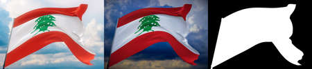 Waving flags of the world - flag of Lebanon. Set of 2 flags and alpha matte image. Very high quality mask without unwanted edge. High resolution for professional composition. 3D illustration.