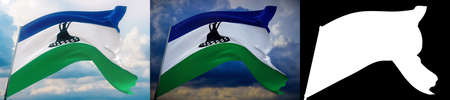 Waving flags of the world - flag of Lesotho. Set of 2 flags and alpha matte image. Very high quality mask without unwanted edge. High resolution for professional composition. 3D illustration.
