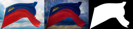 Waving flags of the world - flag of Liechtenstein. Set of 2 flags and alpha matte image. Very high quality mask without unwanted edge. High resolution for professional composition. 3D illustration.