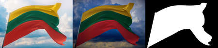 Waving flags of the world - flag of Lithuania. Set of 2 flags and alpha matte image. Very high quality mask without unwanted edge. High resolution for professional composition. 3D illustration. Фото со стока