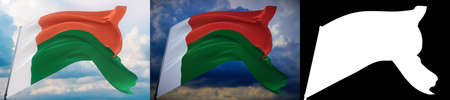 Waving flags of the world - flag of Madagascar. Set of 2 flags and alpha matte image. Very high quality mask without unwanted edge. High resolution for professional composition. 3D illustration.