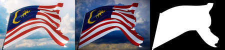 Waving flags of the world - flag of Malaysia. Set of 2 flags and alpha matte image. Very high quality mask without unwanted edge. High resolution for professional composition. 3D illustration.