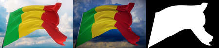 Waving flags of the world - flag of Mali. Set of 2 flags and alpha matte image. Very high quality mask without unwanted edge. High resolution for professional composition. 3D illustration. Фото со стока