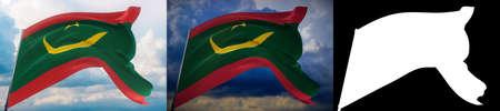 Waving flags of the world - flag of Mauritania. Set of 2 flags and alpha matte image. Very high quality mask without unwanted edge. High resolution for professional composition. 3D illustration. Фото со стока