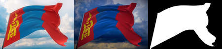 Waving flags of the world - flag of Mongolia. Set of 2 flags and alpha matte image. Very high quality mask without unwanted edge. High resolution for professional composition. 3D illustration.