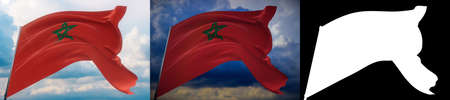 Waving flags of the world - flag of Morocco. Set of 2 flags and alpha matte image. Very high quality mask without unwanted edge. High resolution for professional composition. 3D illustration. Imagens