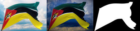 Waving flags of the world - flag of Mozambique. Set of 2 flags and alpha matte image. Very high quality mask without unwanted edge. High resolution for professional composition. 3D illustration.