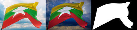 Waving flags of the world - flag of Myanmar. Set of 2 flags and alpha matte image. Very high quality mask without unwanted edge. High resolution for professional composition. 3D illustration.