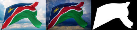 Waving flags of the world - flag of Namibia. Set of 2 flags and alpha matte image. Very high quality mask without unwanted edge. High resolution for professional composition. 3D illustration.
