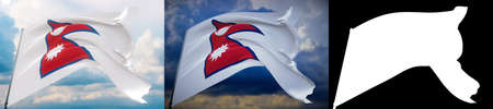 Waving flags of the world - flag of Nepal. Set of 2 flags and alpha matte image. Very high quality mask without unwanted edge. High resolution for professional composition. 3D illustration. Фото со стока