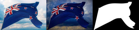 Waving flags of the world - flag of New Zealand. Set of 2 flags and alpha matte image. Very high quality mask without unwanted edge. High resolution for professional composition. 3D illustration. Imagens