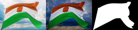 Waving flags of the world - flag of Niger. Set of 2 flags and alpha matte image. Very high quality mask without unwanted edge. High resolution for professional composition. 3D illustration.