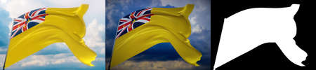 Waving flags of the world - flag of Niue. Set of 2 flags and alpha matte image. Very high quality mask without unwanted edge. High resolution for professional composition. 3D illustration.