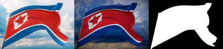 Waving flags of the world - flag of North Korea. Set of 2 flags and alpha matte image. Very high quality mask without unwanted edge. High resolution for professional composition. 3D illustration. Фото со стока
