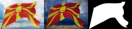 Waving flags of the world - flag of North Macedonia. Set of 2 flags and alpha matte image. Very high quality mask without unwanted edge. High resolution for professional composition. 3D illustration. Imagens