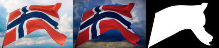 Waving flags of the world - flag of Norway. Set of 2 flags and alpha matte image. Very high quality mask without unwanted edge. High resolution for professional composition. 3D illustration. Фото со стока