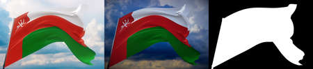 Waving flags of the world - flag of Oman. Set of 2 flags and alpha matte image. Very high quality mask without unwanted edge. High resolution for professional composition. 3D illustration.