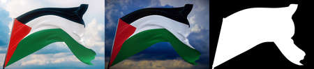 Waving flags of the world - flag of Palestine. Set of 2 flags and alpha matte image. Very high quality mask without unwanted edge. High resolution for professional composition. 3D illustration. Фото со стока