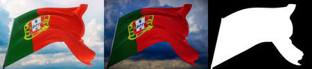 Waving flags of the world - flag of Portugal. Set of 2 flags and alpha matte image. Very high quality mask without unwanted edge. High resolution for professional composition. 3D illustration.