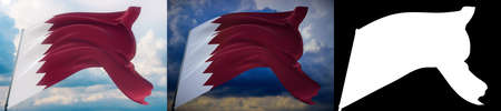 Waving flags of the world - flag of Qatar. Set of 2 flags and alpha matte image. Very high quality mask without unwanted edge. High resolution for professional composition. 3D illustration.