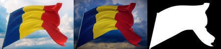 Waving flags of the world - flag of Romania. Set of 2 flags and alpha matte image. Very high quality mask without unwanted edge. High resolution for professional composition. 3D illustration.