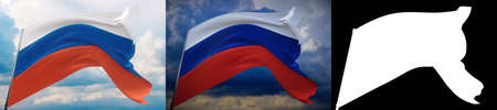 Waving flags of the world - flag of Russia. Set of 2 flags and alpha matte image. Very high quality mask without unwanted edge. High resolution for professional composition. 3D illustration.