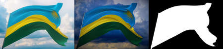 Waving flags of the world - flag of Rwanda. Set of 2 flags and alpha matte image. Very high quality mask without unwanted edge. High resolution for professional composition. 3D illustration.