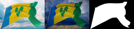 Waving flags of the world - flag of Saint Vincent And The Grenadines. Set of 2 flags and alpha matte image. Very high quality mask. High resolution for professional composition. 3D illustration. Фото со стока