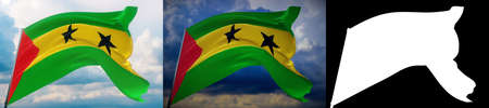 Waving flags of the world - flag of Sao Tome and Principe. Set of 2 flags and alpha matte image. Very high quality mask. High resolution for professional composition. 3D illustration. Фото со стока