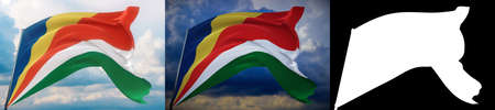 Waving flags of the world - flag of Seychelles. Set of 2 flags and alpha matte image. Very high quality mask without unwanted edge. High resolution for professional composition. 3D illustration. Фото со стока