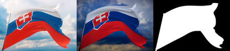 Waving flags of the world - flag of Slovakia. Set of 2 flags and alpha matte image. Very high quality mask without unwanted edge. High resolution for professional composition. 3D illustration.