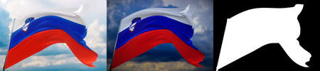 Waving flags of the world - flag of Slovenia. Set of 2 flags and alpha matte image. Very high quality mask without unwanted edge. High resolution for professional composition. 3D illustration.