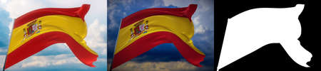 Waving flags of the world - flag of Spain. Set of 2 flags and alpha matte image. Very high quality mask without unwanted edge. High resolution for professional composition. 3D illustration. Imagens