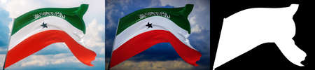 Waving flags of the world - flag of Somaliland. Set of 2 flags and alpha matte image. Very high quality mask without unwanted edge. High resolution for professional composition. 3D illustration. Imagens