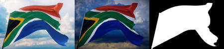 Waving flags of the world - flag of South Africa. Set of 2 flags and alpha matte image. Very high quality mask without unwanted edge. High resolution for professional composition. 3D illustration.