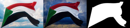 Waving flags of the world - flag of Sudan. Set of 2 flags and alpha matte image. Very high quality mask without unwanted edge. High resolution for professional composition. 3D illustration. Фото со стока