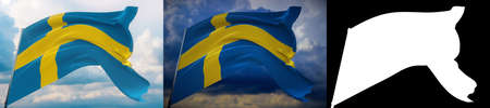 Waving flags of the world - flag of Sweden. Set of 2 flags and alpha matte image. Very high quality mask without unwanted edge. High resolution for professional composition. 3D illustration.