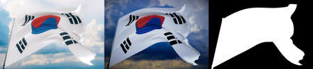 Waving flags of the world - flag of South Korea. Set of 2 flags and alpha matte image. Very high quality mask without unwanted edge. High resolution for professional composition. 3D illustration.