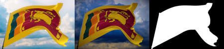 Waving flags of the world - flag of Sri Lanka. Set of 2 flags and alpha matte image. Very high quality mask without unwanted edge. High resolution for professional composition. 3D illustration.